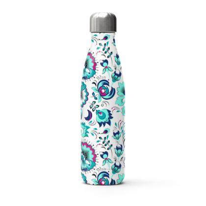 blue flowers thermal bottle