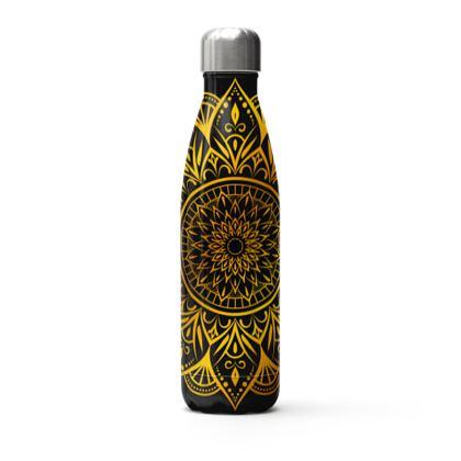 black gold mandala thermal bottle