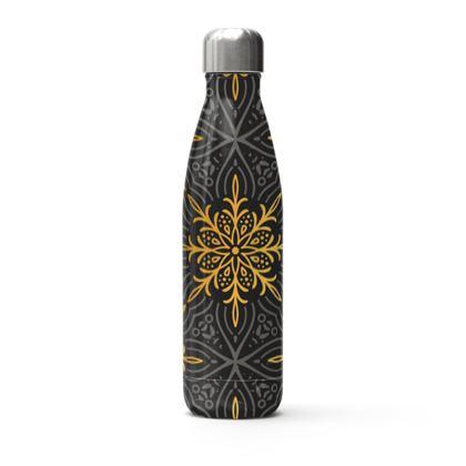golden mandala snowflake thermal bottle