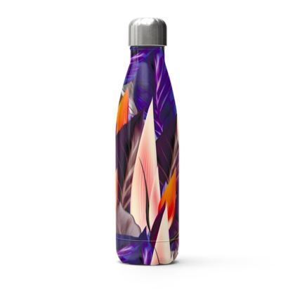 modern abstract leaves thermal bottle