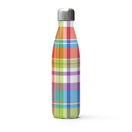 colorful plaid thermal bottle