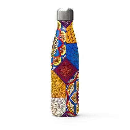 colorful mandala patchwork thermal bottle
