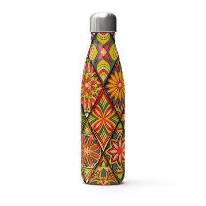 floral geometric mandala thermal bottle