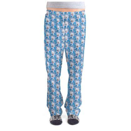 Millie the Westie Fine Art Print Ladies Pyjama Bottoms by Somerset (UK) Artist and Designer Amanda Boorman