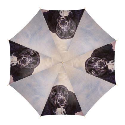 Monty the Spaniel Luxury Fine Art Print Umbrella by Somerset (UK) Artist and Designer Amanda Boorman