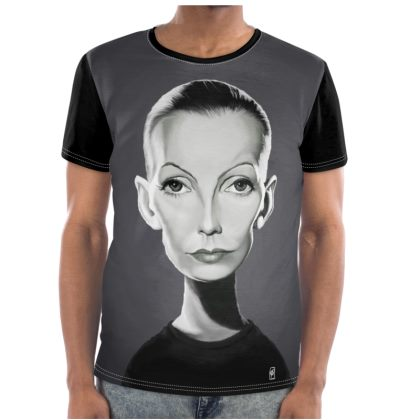 Greta Garbo Celebrity Caricature Cut and Sew T Shirt