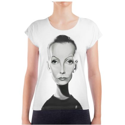 Greta Garbo Celebrity Caricature Ladies T Shirt