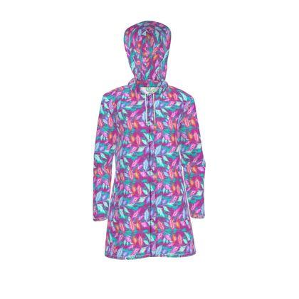 Womens Hooded Rain Mac Diamond Leaves Harlequin