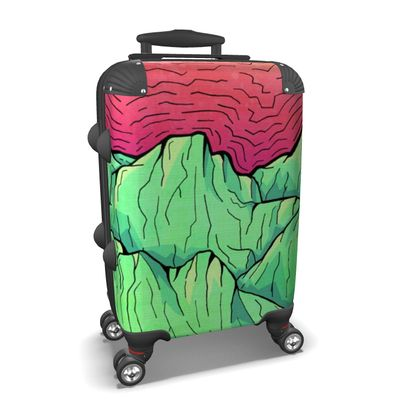 Suitcase - Lime Green Mountains