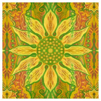 Sun Flower, bohemian pattern, yellow, green & orange Ornamental Bowl