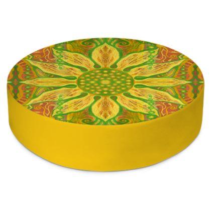 Sun Flower, bohemian pattern, yellow, green & orange Round Floor Cushions