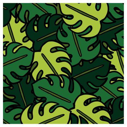 Monstera Leaf Pattern Ladies Bomber Jacket