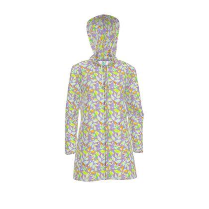 Womens Hooded Rain Mac Diamond Leaves Pastels on Lilac