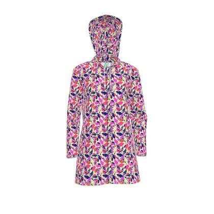 Womens Hooded Rain Mac Diamond Leaves Sunset