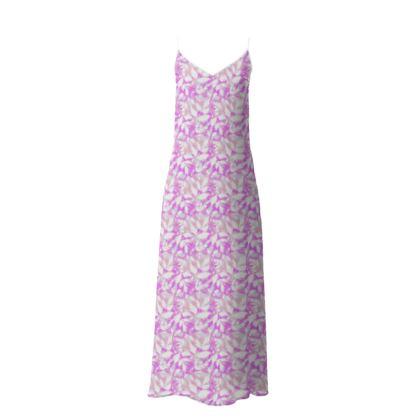 Slip Dress Diamond Leaves Lilac Fantasy