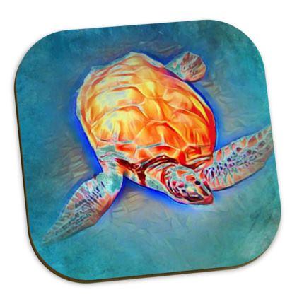 Turtle set of 6 coasters