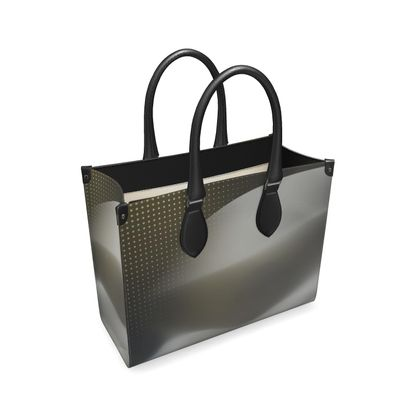 Leather Shopper Bag - Abstract Organic Grey