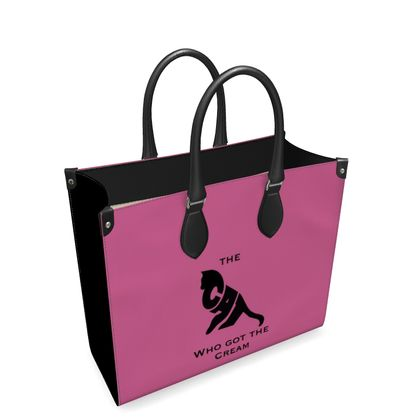 Luxury Pink Leather Shopping Bag - The Cat Who Got The Cream