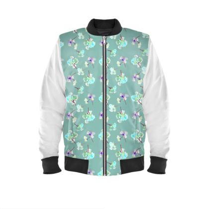 Mens Bomber Jacket My Sweet Pea Soft Teal
