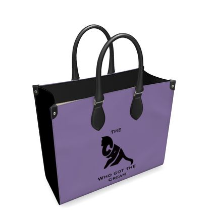 Luxury Purple Leather Shopping Bag - The Cat Who Got The Cream