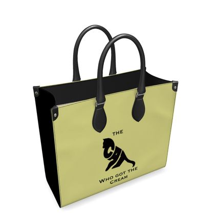 Luxury Yellow Leather Shopping Bag - The Cat Who Got The Cream