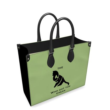Luxury Green Leather Shopping Bag - The Cat Who Got The Cream