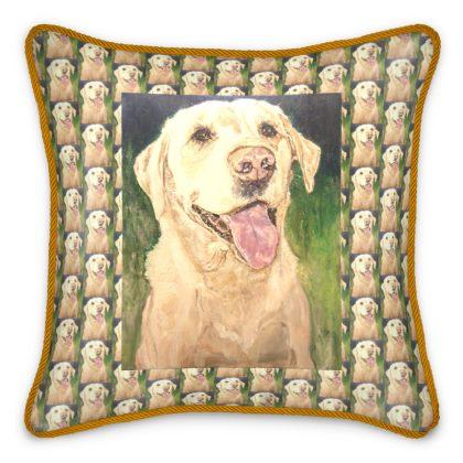 Biscuit the Golden Labrador Retriever Fine Art Silk Cushions by Somerset (UK) Artist and Designer Amanda Boorman