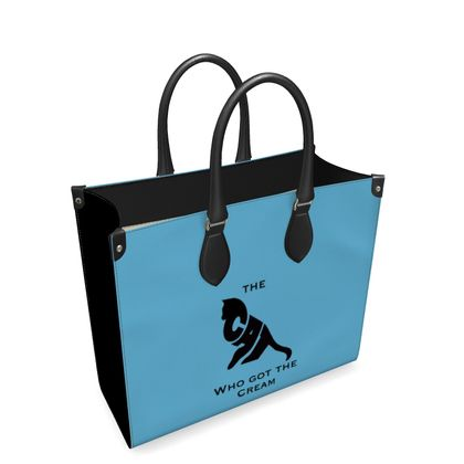 Luxury Blue Leather Shopping Bag - The Cat Who Got The Cream