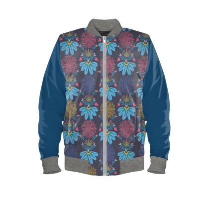 Blue Floral Craft Ladies Bomber Jacket