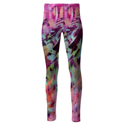 High Waisted Leggings Watercolor Texture 14