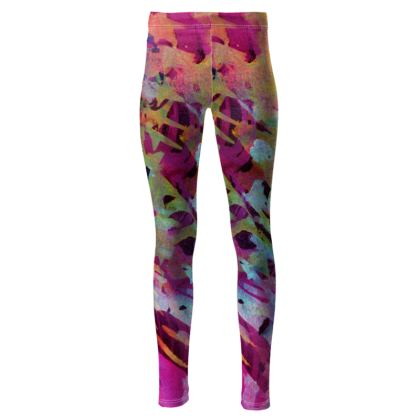 High Waisted Leggings Watercolor Texture 014