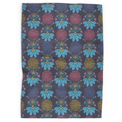 Blue Floral Craft Tea Towels