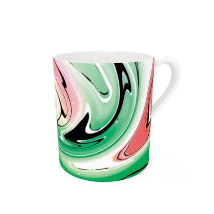 Bone China Mug - Multicolour Swirling Marble Pattern 1 of 12