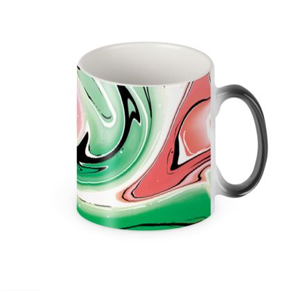Heat Changing Mug - Multicolour Swirling Marble Pattern 1 of 12