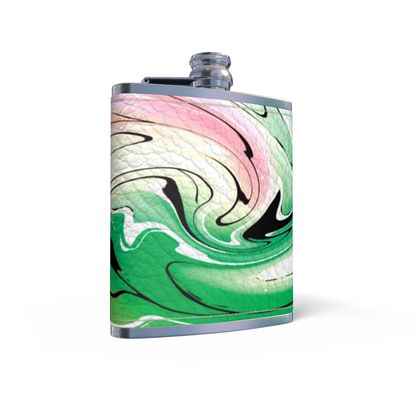 Leather Wrapped Hip Flask - Multicolour Swirling Marble Pattern 1 of 12