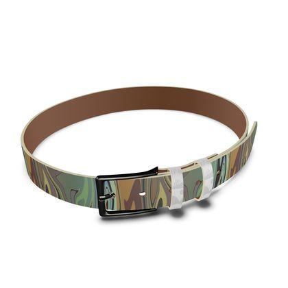 Leather Belt - Marble Rainbow 2