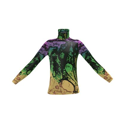 Mens Slim Fit Roll Neck - The Waterfall (1909) Abstract