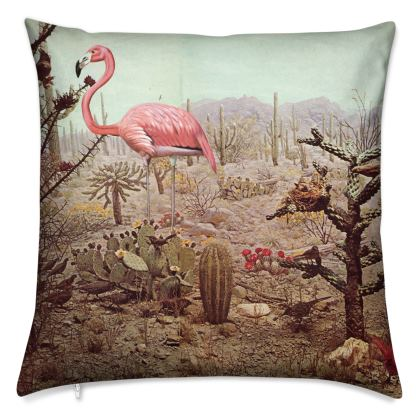 Velvet Cushion Wild Flamingo