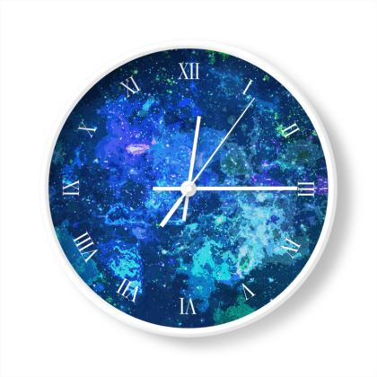 Wall Clocks - Blue Nebula Galaxy Abstract