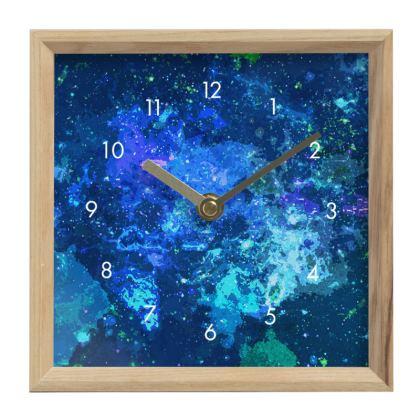 Mantle Clock - Blue Nebula Galaxy Abstract