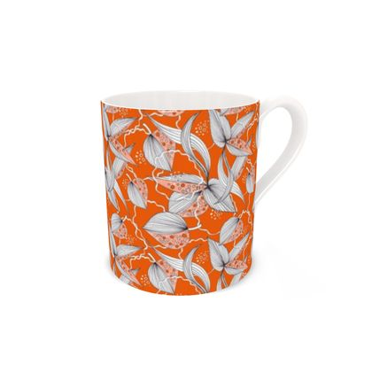 Bone China Mug: Stripy Leaves on Orange