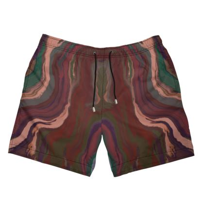 Mens Swimming Shorts - Colours of Saturn Marble Pattern 1