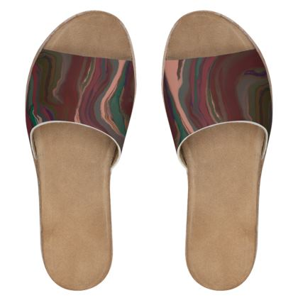 Womens Leather Sliders - Colours of Saturn Marble Pattern 1