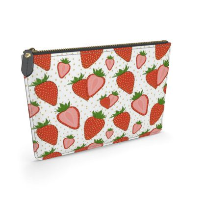Sweet Strawberries - Leather Pouch