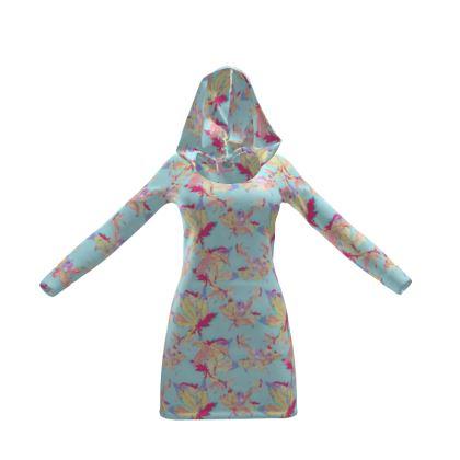 Hoody Dress Regal Leaves Cobalt Sky