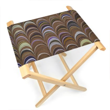 Folding Stool Chair - Around Ex Libris Brown Remix (1800 -1950)