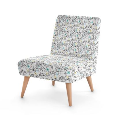 Cat-face Print Occasional Chair