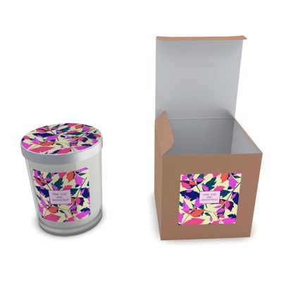 Set Candle in Glass [Pink Fizz and Grapefruit] Diamond Leaves Sunset.