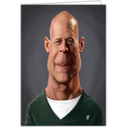 Bruce Willis Celebrity Caricature Occasions Cards