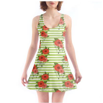 Mini abito stampa fiori e righe